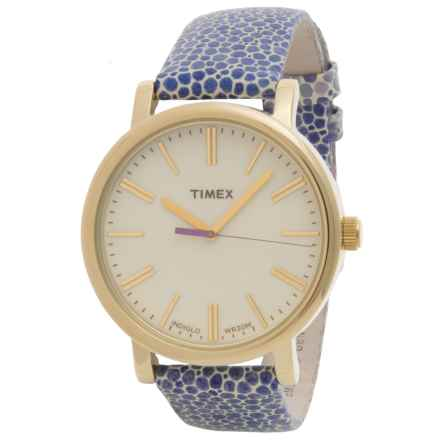 Timex Style Originals Modern Watch - 38mm, Leather Strap (For Women) in Gold/Purple - Closeouts