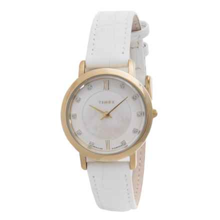 Timex Style Premium Watch - Leather Strap (For Women) in White/Silver/White - Closeouts