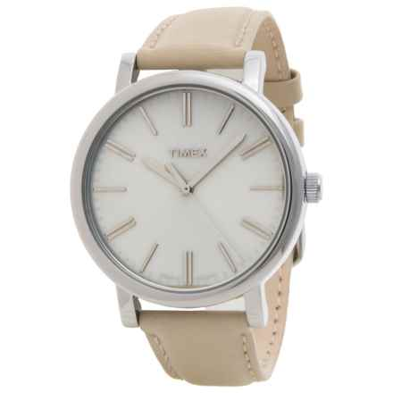 Timex Style Weekender Originals Modern Watch - 38mm, Leather Strap (For Women) in Beige/Beig - Closeouts