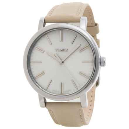 Timex Style Weekender Originals Modern Watch - 38mm, Leather Strap (For Women) in Beige/Beig - Closeouts