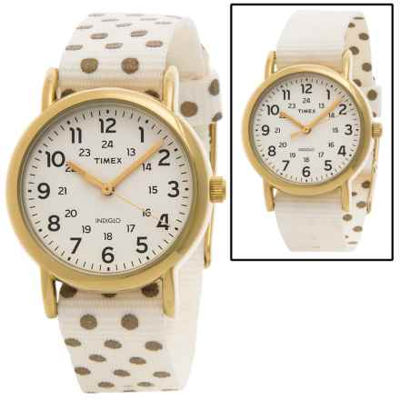 Timex Weekender Dots Watch - Reversible Nylon Strap (For Women) in Cream/Gold Dots - Closeouts