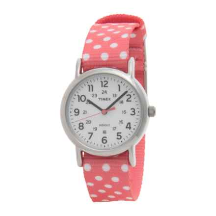 Timex Weekender Dots Watch - Reversible Nylon Strap (For Women) in Pink With White Dots/Pink - Closeouts
