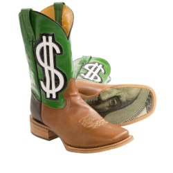 Tin Haul Cash Money Cowboy Boots - Square Toe (For Men) in Brown/Green