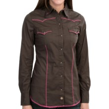 Tin Haul Cross-Stitch Western Shirt - Long Sleeve (For Women) in Brown - Closeouts