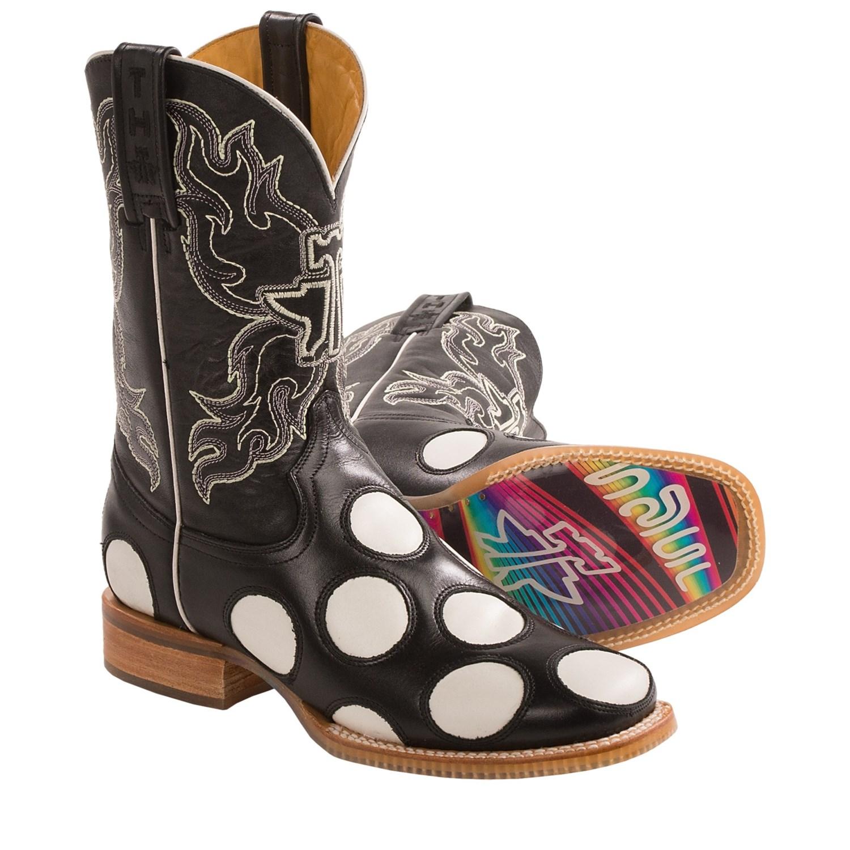 Tin Haul Glowka Polka-Dot Cowboy Boots (For Women) in Black/Multi
