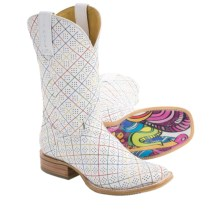 Tin Haul Holey Stitch Cowboy Boots - Leather (For Women) in White - Closeouts