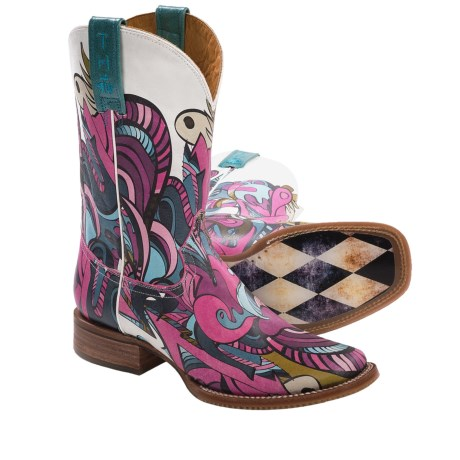 Tin Haul Mardi Gras Cowboy Boots - Square Toe, Leather (For Women and Youth Girls) in Mardi Gras Print