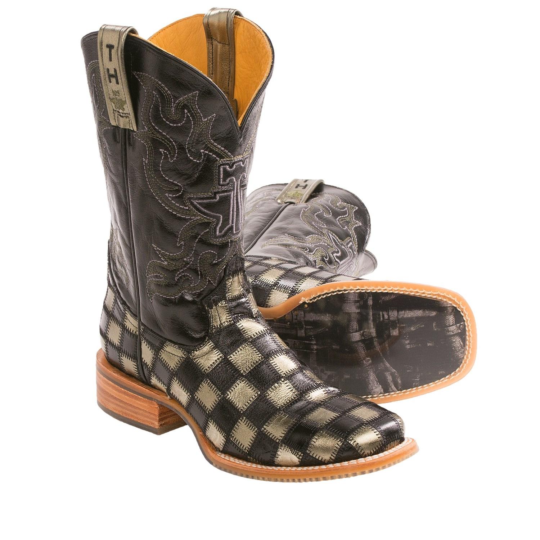 Tin Haul Metallic Checkerboard Cowboy Boots Square Toe