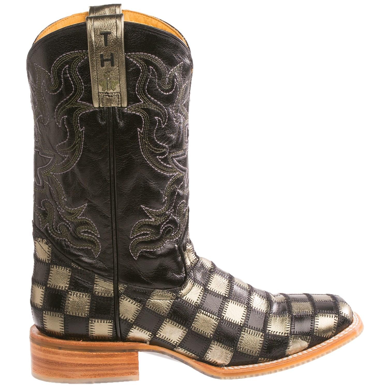 Tin Haul Metallic Checkerboard Cowboy Boots For Men
