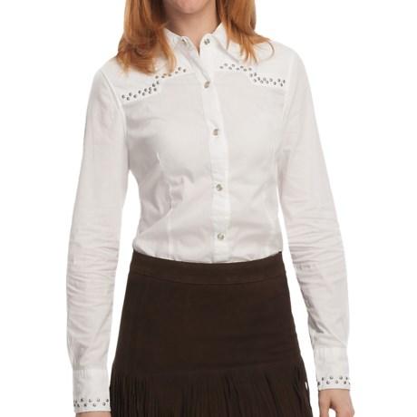 Tin Haul Nail Head Detail Shirt - Cotton Poplin, Snap Front, Long Sleeve (For Women) in White