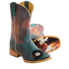 Tin Haul Pool Hall Cowboy Boots - Leather, Square Toe (For Men) in Teal - Closeouts