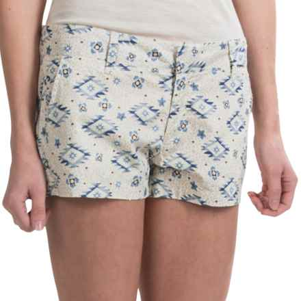 Tin Haul Scattered Aztec Print Shorts - Cotton Poplin (For Women) in White - Closeouts