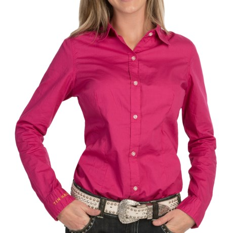 Tin Haul Solid Shirt - Button Front, Long Sleeve (For Women) in Fuchsia