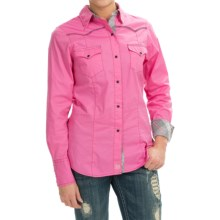 Tin Haul Solid Stretch Poplin Western Shirt - Snap Front, Long Sleeve (For Women) in Pink - Closeouts