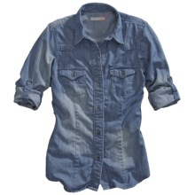 Tin Haul Western Chambray Shirt - Button Front, Long Sleeve (For Women) in Chambray - Closeouts