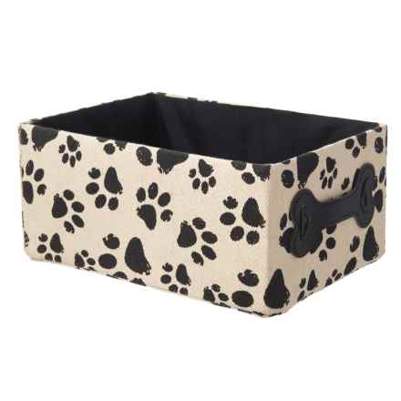 TM Pet Distressed Paw Rectangular Pet Tote Bin - Medium in Cream/Black - Closeouts