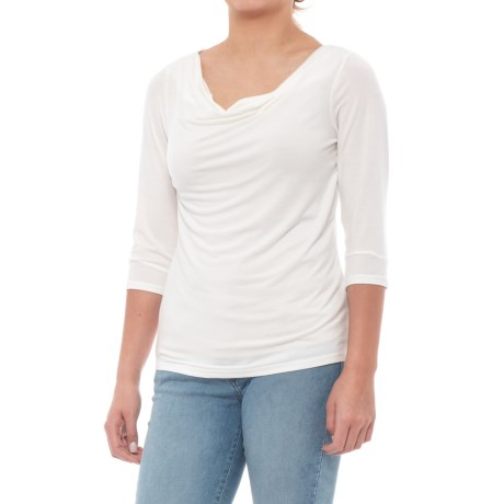 Toad&Co Bel Canto 3/4 Drape Neck Shirt - 3/4 Sleeve (For Women) in Egret