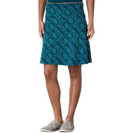 Toad&Co Chaka Skirt - Organic Cotton-TENCEL® (For Women) in Inky Teal Found Forest Print - Closeouts