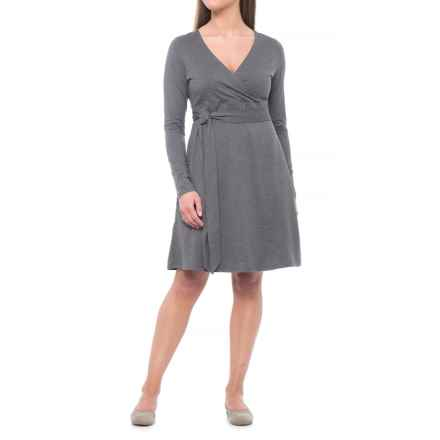 Toad&Co Cue TENCEL® Dress - Organic Cotton, Long Sleeve (For Women) in Charcoal Heather - Closeouts