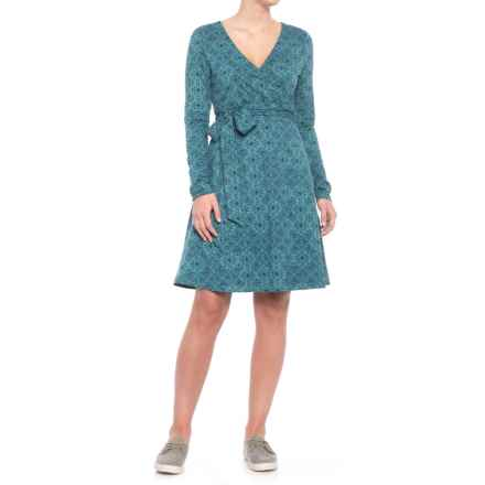 Toad&Co Cue TENCEL® Dress - Organic Cotton, Long Sleeve (For Women) in Hydro Patchwork Print - Closeouts