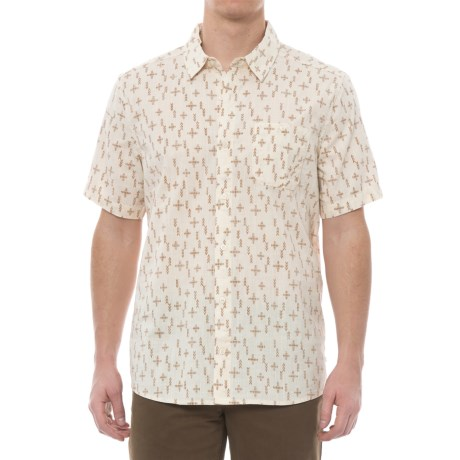 Toad&Co Fletch Printed Shirt - Organic Cotton, Short Sleeve (For Men) in Salt Print