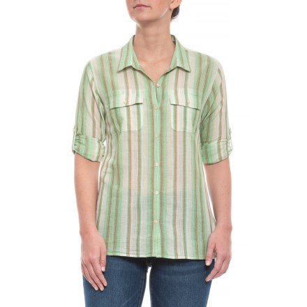 66496c320c2 Toad&Co Green Awning Stripe Airbrush Shirt - Organic Cotton, Long Sleeve  (For Women)