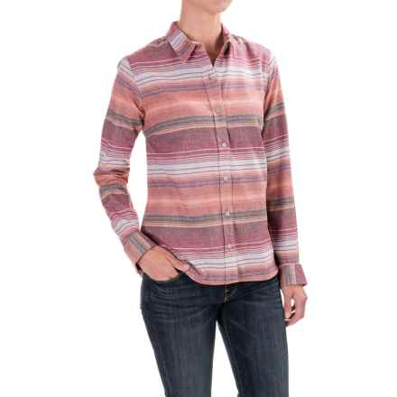 Toad&Co Lightfoot Flannel Shirt - Organic Cotton, Long Sleeve (For Women) in House Red Stripe - Closeouts