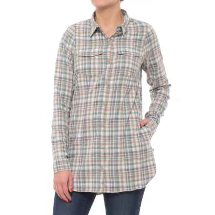 Toad&Co Lightfoot Flannel Tunic Shirt - Organic Cotton, Long Sleeve (For Women) in Heather Grey - Closeouts