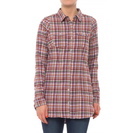 Toad&Co Lightfoot Flannel Tunic Shirt - Organic Cotton, Long Sleeve (For Women) in Purple Thistle