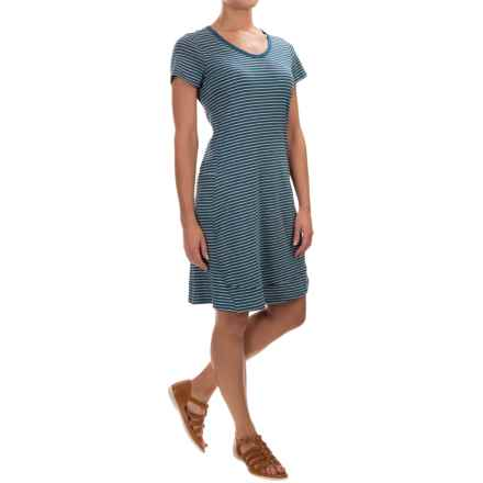 Toad&Co Marley T-Shirt Dress - Short Sleeve (For Women) in Inky Teal Stripe - Closeouts