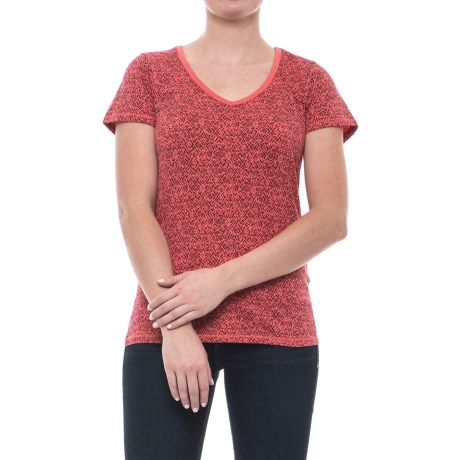Toad&Co Marley T-Shirt - Organic Cotton-TENCEL®, Short Sleeve (For Women) in Spiced Coral Geo Print