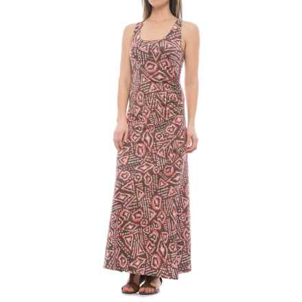Toad&Co Montauket Long Dress - TENCEL®-Organic Cotton, Sleeveless (For Women) in Falcon Brown Brush Print - Closeouts