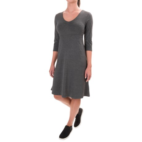 Toad&Co Rosalinda Dress - Organic Cotton-TENCEL®, 3/4 Sleeve (For Women) in 110-Charcoal Heather