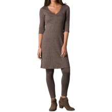 Toad&Co Rosalinda Dress - Organic Cotton-TENCEL®, 3/4 Sleeve (For Women) in Falcon Brown Nordic Print - Closeouts