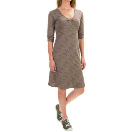 Toad&Co Rosalinda Dress - Organic Cotton-TENCEL®, 3/4 Sleeve (For Women) in Falcon Brown Tribal Print - Closeouts