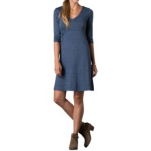 Toad&Co Rosalinda Dress - Organic Cotton-TENCEL®, 3/4 Sleeve (For Women) in Indigo Nordic Print - Closeouts