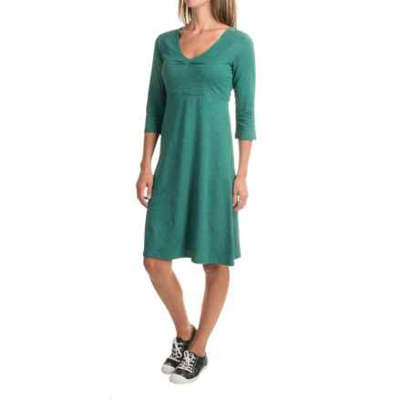 Toad&Co Rosalinda Dress - Organic Cotton-TENCEL®, 3/4 Sleeve (For Women) in Marine Green - Closeouts
