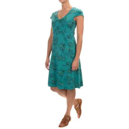 Toad&Co Rosemarie Dress - Short Sleeve (For Women) in Turquoise Poppy - Closeouts