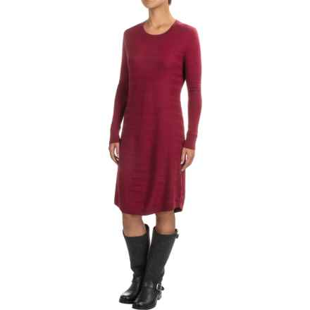 Toad&Co Shadowstripe Sweater Dress - Merino Wool, Long Sleeve (For Women) in House Red - Closeouts