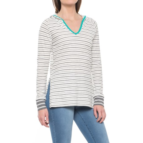 Toad&Co Slub Stripe Hooded Shirt - Organic Cotton, Long Sleeve (For Women) in Smoke Varied Stripe