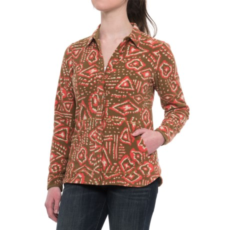 Toad&Co Sundowner Lightweight Microfleece Shirt - Long Sleeve (For Women) in Honey Brown Brush Print