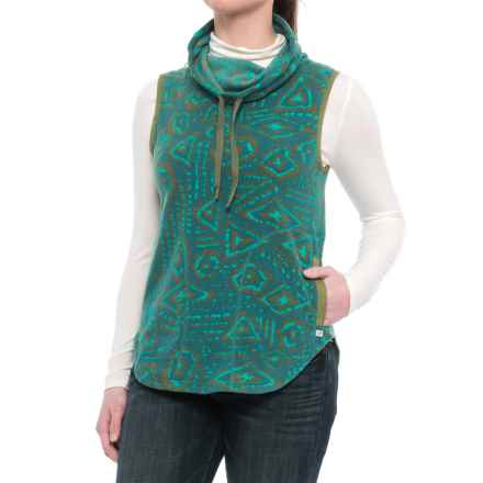 Toad&Co Sundowner Microfleece Vest - Cowl Neck (For Women) in Hydro Brush Print - Closeouts