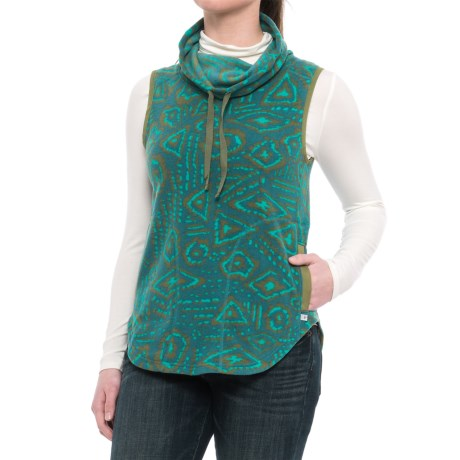 Toad&Co Sundowner Microfleece Vest - Cowl Neck (For Women) in Hydro Brush Print