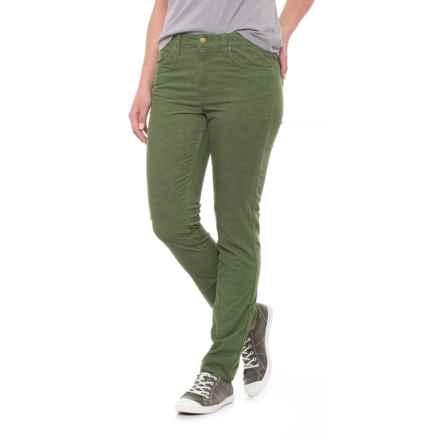 Toad&Co Sybil Stretch Cotton Corduroy Pants - Fine Wale, Organic Cotton, Slim Cut (For Women) in Kale - Closeouts