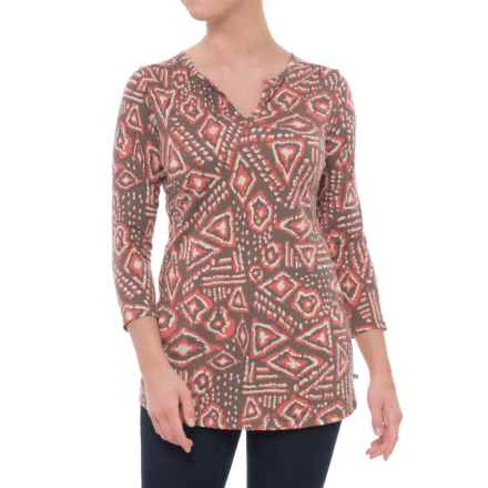 Toad&Co Tamaya Dos Tunic Shirt - Organic Cotton, 3/4 Sleeve (For Women) in Falcon Brown Brush Print - Closeouts
