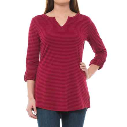 Toad&Co Tamaya TENCEL® Tunic Shirt - V-Neck, Long Sleeve (For Women) in Molten Stripe - Closeouts
