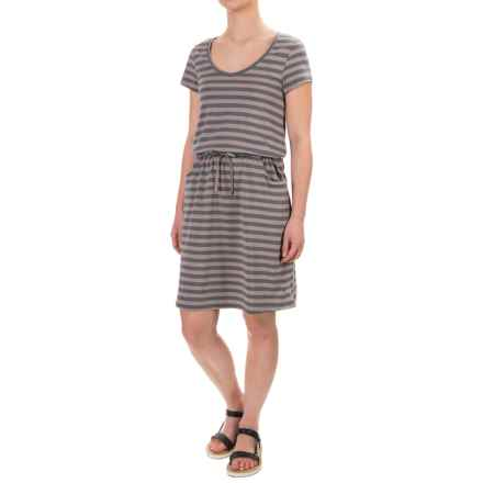 Toad&Co Tica Dress - Scoop Neck, Short Sleeve (For Women) in Cocoa Stripe - Closeouts