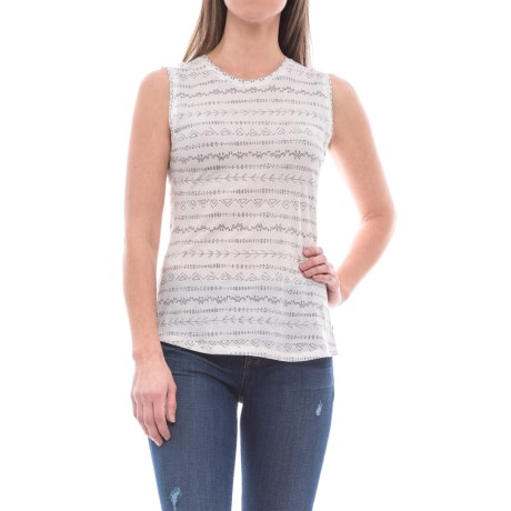 Toad&Co Tissue Vented Tank Top (For Women) in Egret Line Print