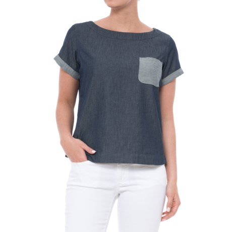Toad&Co Wayfarer Pocketed Shirt - Organic Cotton Blend, Short Sleeve (For Women) in Nightsky