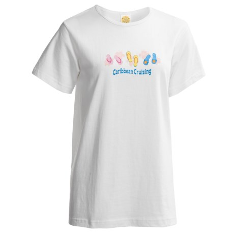 Toast and Jammies Crew Neck T-Shirt - Short Sleeve (For Women) in Caribbean Flip Flop